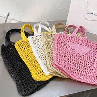 여자 짚 가방 여성용 해변 디자이너 손으로 짠 지갑 고품질 패션 여성 쇼핑 핸드백 여름 어깨 가방 삼각형 로고 5 색