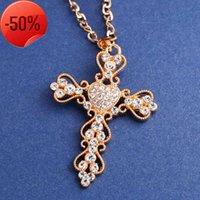 Earrings Court Heart Cross Pendant with Diamond Long Necklace Nkk05