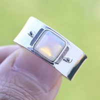 Cluster Rings Vintage Womens Ring Geometric White Moonstone Wide For Men Party Accessories Silver Color Opal Stone Charm Jewelry Gift