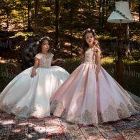 Vintage Pink Princess Flower Girl Dresses With Gold Lace Appliqued Wedding Party Tutu Kids Birthday Dresses 2106