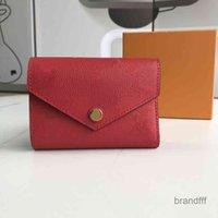 الجملة النقش محفظة جلدية للنساء متعدد الألوان مصمم حامل بطاقة قصيرة محفظة الكلاسيكية سستة جيب فيكتورين