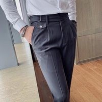 Men's Suits & Blazers Suit Pants Formal High Quality Solid Color Business Fashion Casual Slim Fit Ankle Trouser Clothing Dress