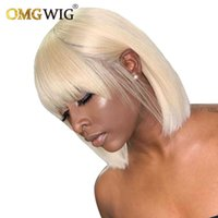 613 Honey Blonde Bob Wig With Bangs 150% Density Straight Short Brazilian Human Hair Non Lace Front Wig For Black Women