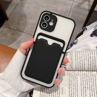 New Matte phone cases with card holder for iphone 13 12 11 pro max XR XS X 7 8 Plus fashion Anti-knock TPU Protective Shockproof cellphone cover case six colors