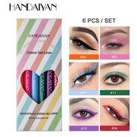 Handeiyan 6 renkler uzun ömürlü eyeliner kalem su geçirmez lekesiz moda ultra ince göz kapancıları jel makyaj kozmetik stokta