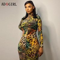 Casual Dresses Adogirl Fashion Leopard Print Bodycon Dress Women Stand Collar Long Sleeves Midi Elegant Club Evening Party 2021