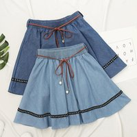 Skirts Chic Elastic Waist Women Denim For High Summer Harajuku With Belt N0060