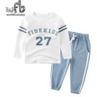 Розничная 2-10 лет набор хлопчатобумажных футболок с длинными рукавами дома + брюки буквы напечатаны весна осень осень х0509