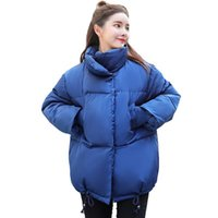 Women's Trench Coats Korean Style Women Winter Jacket 2021 Stand Collar Breasted Buttons Cotton Padded Female Coat Outwear Short Warm Womens