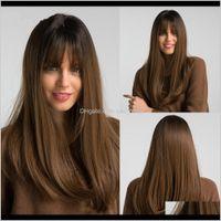 18 longa peruca sintética com franja reta cor castanha escura alta densidade de alta densidade perucas resistentes ao calor resistente ao calor para as mulheres yquap rfjev