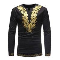 Ethnic Clothing Trend African Printed Men's Long Sleeve V-neck T-shirt ZT-FZ05.