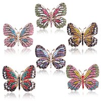 Fashion Colorful Butterfly Brooches Metal Crystal Rhinestones Cutout Brooch Animal Pins Banquet Wedding Bouquet Gifts