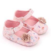 Born Baby Girls Scarpe PU Soft Sole First Walkers Flower Stampa Pattern Princess Party Wedding Girl 0-18m