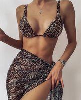 Women's Swimwear Sexy Micro 3 Piece Bathing Suit Bikini Set Leopard Tie Dye Women Swimsuit High Waist Halter Bandage Brazilian Biquini