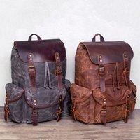 """Backpack VZVA Vintage Travel Canvas Leather 15"""" Laptop Backpacks Rucksack Shoulder Camping Hiking For Men Women"""