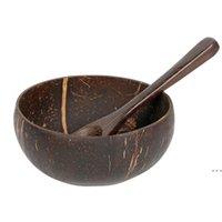 جوز الهند الطبيعي السلطانية ملعقة مجموعة الإبداعية جوز الهند شل الفاكهة سلطة المعكرونة رامين الأرز وعاء خشبي مطعم مطبخ حزب الزفاف HWF6233