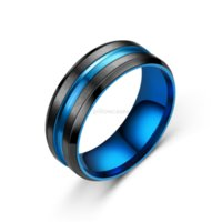 Groove Stainless Steel Ring Blue Rainbow Band Finger Contrast Color Rings for Women Men Fashion Jewelry Will and Sandy