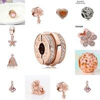 Couqcy 2021 Nouveau 1PC Européenne Rose Gold Agel Arbre Présent Fleur Crown Clip Perles Fit Pandora Charms Bracelet Femmes Cadeau Bijoux 2040 Q2