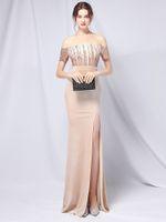 Платья для вечеринок Youndzs Шампанское Sequin Maxi Off Flush Женщины Длительный выпускной Elegant Velor Вечер O2N1