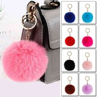 Keychains Fluffy Fur Pom chain Soft Faux Rabbit Ball Car ring Pompom Chains Holder Women Bag Pendant Jewelry Gifts