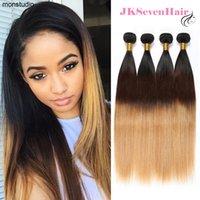 Ombre 1B-4-27 Virgin Peruvian Human Hair Extensions 4 Bundles Deal Straight Brazilian Malaysian Indian Weave Wefts