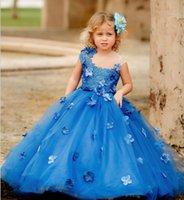 Princess Royal Blue Little A Line Flower Girls Dresses Short Sleeve Kids First Communion Gown Floor Length Toddler Birthday Party Dress