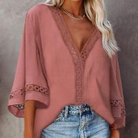 Women's Blouses & Shirts Summer Blouse Tops Deep V Neck Hollow Out Office Lady Clothes Casual Shirt For Women Elegant Female 2021