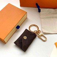 Moeda Bolsa Moda Keychain Wallet Pingente Corrente de Carro Marrom Flor Mini Saco Pequena Jóias Presente Acessórios Chave Anel