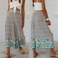 Boho Pantalones para mujer Baggy Harem Pantalones Boho Hippie Estampado floral Pantalones de pierna ancha Pantalones casuales Pantalones de playa Ropa de playa