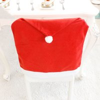 1PC Christmas Hat Chair Cover Red Santa Claus Dining Chairs Covered Holiday New Year Xmas Party Kitchen Table Decor Supplies wzg TL1131