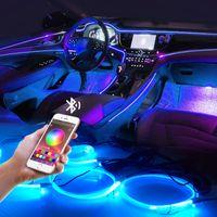 LED سيارة الداخلية الزخرفية الخلفية الإضاءة الخلفية el neon قطاع rgb متعددة أوضاع التطبيق التحكم الصوت سيارة الغلاف الجوي مصباح 12 فولت