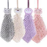 Towel 4pcs Hand Cute Chenille Face Handkerchief Kitchen Bathroom Cartoon Washcloth Soft Absorbent Baby Kids Toilet Animal Shape