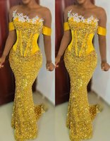 2021 Plus Size Arabic Aso Ebi Yellow Sparkly Mermaid Prom Dresses Lace Sheer Neck Sequined Evening Formal Party Second Reception Bridesmaid Gowns Dress ZJ222
