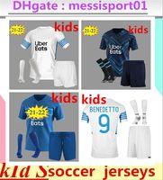 21 22 Maillot de Foot Kid Kit Olympique 드 마르세유 축구 유니폼 양말 2021 2022 Om Marseille Payet Thauvin Benedetto Milik Alvaro 축구 셔츠