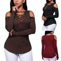 여성용 T 셔츠 블랙 펑크 Tshirt 콜드 숄더 드레이팅 긴 소매 여성 섹시한 가을 탑 캐주얼 티셔츠