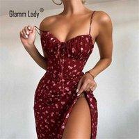 Glamm Lady Print Beiläufige sexy Kleider für Frauen Bodycon Herbst Kleid trägerlosen Split Club Party Kleider Spaghetti Strap Vestidos 210311
