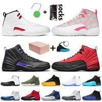 Avec boîte Nike Air Retro Jordan 12 12s Off White Stock x Femmes Hommes Chaussures De Basket-ball Twist Arctic Punch Dark Concord Flu Game University Or Bleu Baskets Baskets