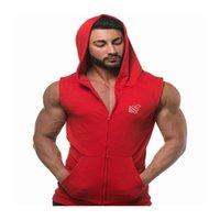 Men's Tank Tops Men Muscle Sleeveless Sportswear Mens Workout Gym Top Hooded Zipper Cotton Bodybuilding Tanktop Run Solid Vests