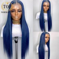 Lace Wigs Topnormantic Blue Color Straight For Women Brazilian Remy Human Hair 13x4 Front Bob Wig Preplucked