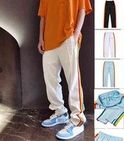 Новое поступление осень зимние спортивные штаны мужская спортивная одежда бега трусных брюк радуга обрезка подол почка на молнии открытие случайного любовника спортивный хип-хоп