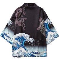 Ethnic Clothing Black Kimono Cardigan Women Men Japanese Obi Male Yukata Men's Haori Wave Carp Print Coat Traditional Japan
