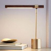 Настольные лампы Светодиодная лампа для спальни Прицел для тумбочки для тумбочки Современный минималистский дизайнер Дерево Зерновое исследование