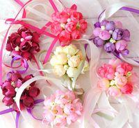 Artificial Flowers Wedding Decoration Boutonniere Groom Groomsman Pin Brooch Corsage Suit Bride Bridesmaid Wrist Flower Satin Rose