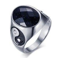 Кластерные кольца Высококачественные мужские металлические yin yang символ ретро кольцо Zircon горный хрусталь Inlaid Punk