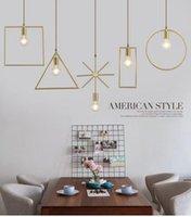 Pendant Lamps Modern Nordic Creative Personality Geometric Chandelier E27 Golden Restaurant Bar Living Room Aisle Entrance Guest Chandeli