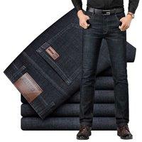 Sulee Brand Европейский американский стиль мужские эластичные хлопковые растягивающие джинсы брюки свободно подходят джинсовые брюки мужские 211011