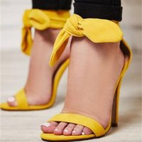 Bright Yellow Ankle Strap Open Toe Women Sandals Butterfly-Knot Lace Up Cover Heel High Heel Wedding Sweet Rome Sandales Femmes