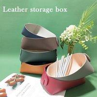 Storage Boxes & Bins Folding Desktop Organizer PU Jewelry Tray Makeup Stationery Holder Box For Keychain Small Items HK3