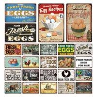 Ferme Oeufs frais à vendre Poulet Horse Panneau d'étain Vintage Métal Plaque Affiche Pin Up Signes Signes Décor mural pour les plaques de la cuisine de la ferme
