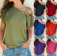 Women's Sexy Cross T-Shirt Shoulder Off Teen Girls Short Sleeves Tops Blouse Cotton Tees Plus Size S-5XL 7 Solid Colors